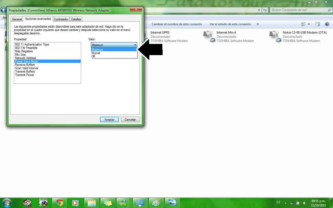Aumentar señal WIFI en Windows 7